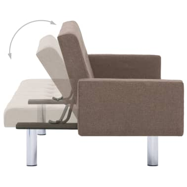 vidaXL Sofa Bed with Armrest Brown Fabric[6/10]