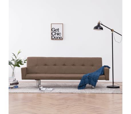 vidaXL Sofa Bed with Armrest Brown Fabric[1/10]