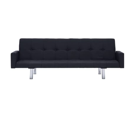 vidaXL Sofa Bed with Armrest Black Fabric[4/10]