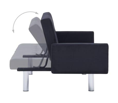 vidaXL Sofa Bed with Armrest Black Fabric[6/10]