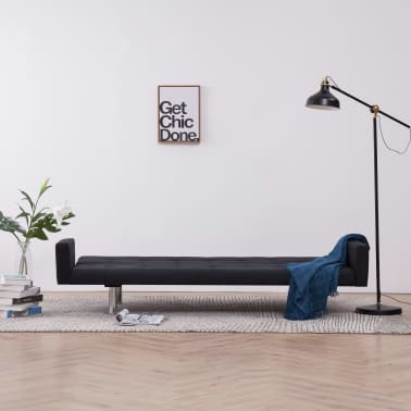 vidaXL Sofa Bed with Armrest Black Fabric[3/10]