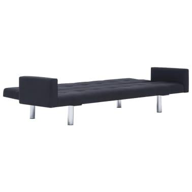 vidaXL Sofa Bed with Armrest Black Fabric[7/10]