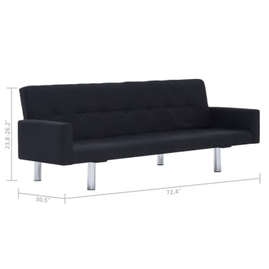 vidaXL Sofa Bed with Armrest Black Fabric[10/10]