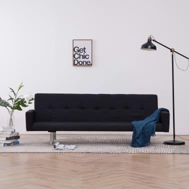 vidaXL Sofa Bed with Armrest Black Fabric[1/10]