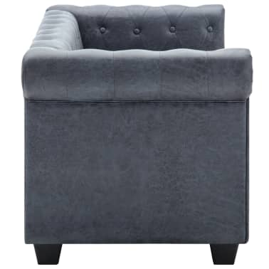vidaXL 2-Seater Chesterfield Sofa Artificial Suede Leather Gray[3/8]