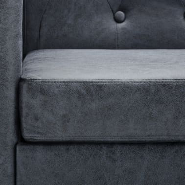 vidaXL 2-Seater Chesterfield Sofa Artificial Suede Leather Gray[7/8]