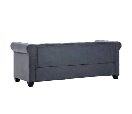 vidaXL 3-Seater Chesterfield Sofa Artificial Suede Leather Gray[3/8]