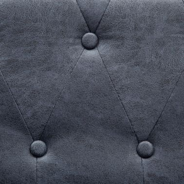 vidaXL 3-Seater Chesterfield Sofa Artificial Suede Leather Gray[6/8]