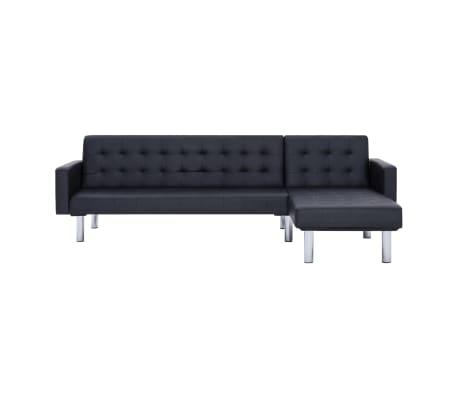 vidaXL L-shaped Sofa Bed Black Faux Leather[3/11]