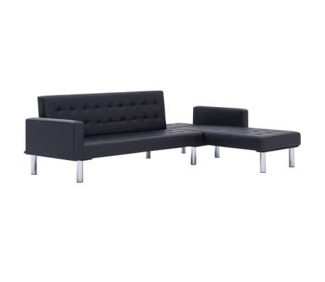 vidaXL L-shaped Sofa Bed Black Faux Leather[4/11]