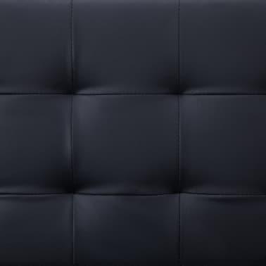 vidaXL L-shaped Sofa Bed Black Faux Leather[10/11]