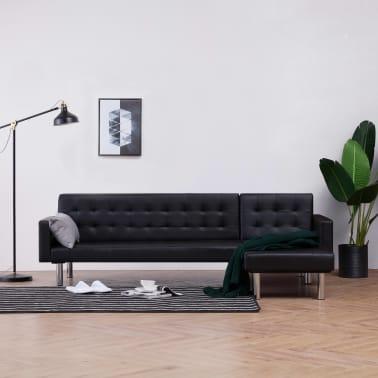 vidaXL L-shaped Sofa Bed Black Faux Leather[1/11]