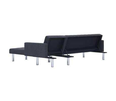 vidaXL L-shaped Sofa Bed Dark Gray Polyester[7/11]
