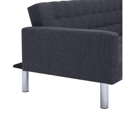 vidaXL L-shaped Sofa Bed Dark Gray Polyester[9/11]