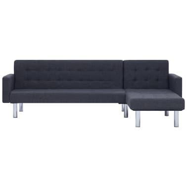 vidaXL L-shaped Sofa Bed Dark Gray Polyester[4/11]