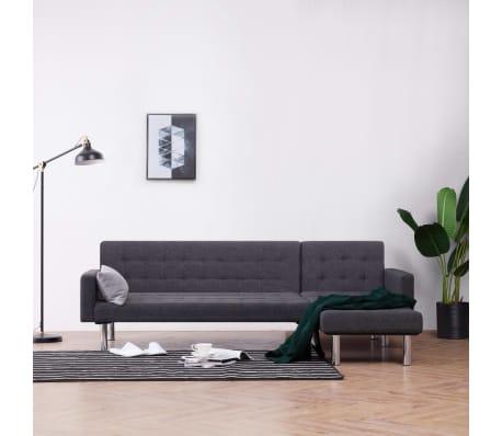 vidaXL L-shaped Sofa Bed Dark Gray Polyester[1/11]