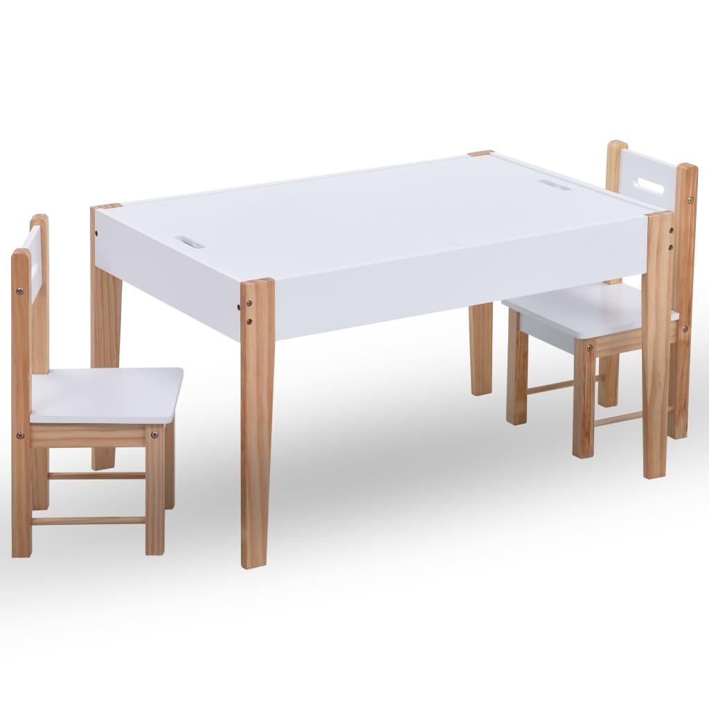 vidaXL Set masă cu scaune pentru copii cu tablă, 3 piese, negru și alb vidaxl.ro