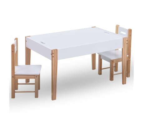 vidaXL Mesa c/ quadro/arrumação desenho e cadeiras 3 pcs preto/branco