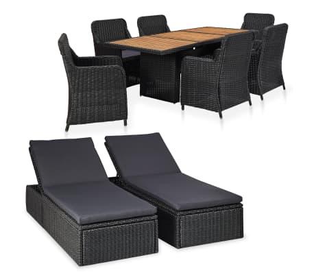 vidaXL udendørs loungesæt 9 dele polyrattan sort