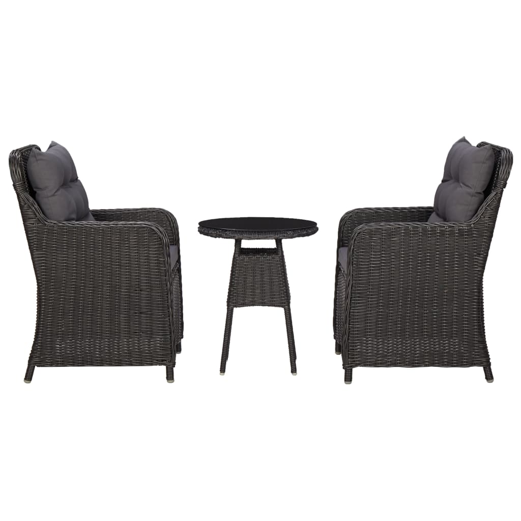 vidaXL Καρέκλες Κήπου 2 τεμ. με Τραπεζάκι Μαύρες από Συνθετικό Ρατάν