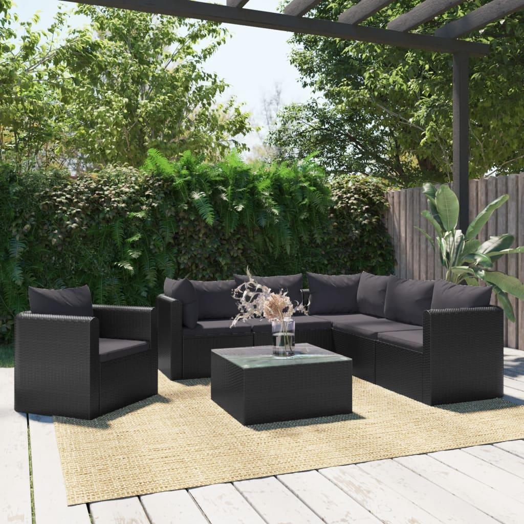 vidaXL 7 pcs conjunto lounge de jardim c/ almofadões vime PE preto