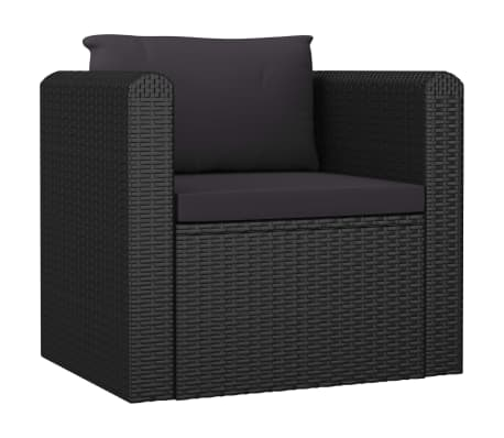 vidaXL Single Sofa with Cushions Poly Rattan Black
