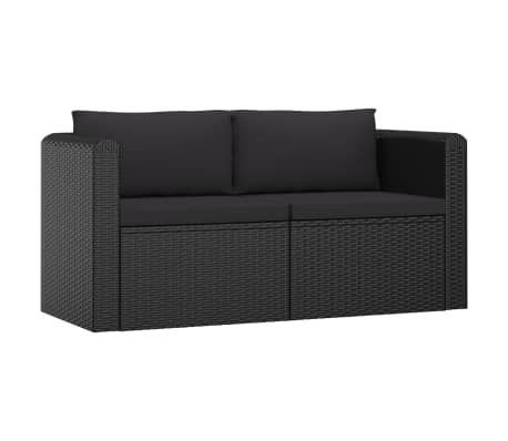 vidaXL 2 Piece Garden Sofa Set with Cushions Poly Rattan Black
