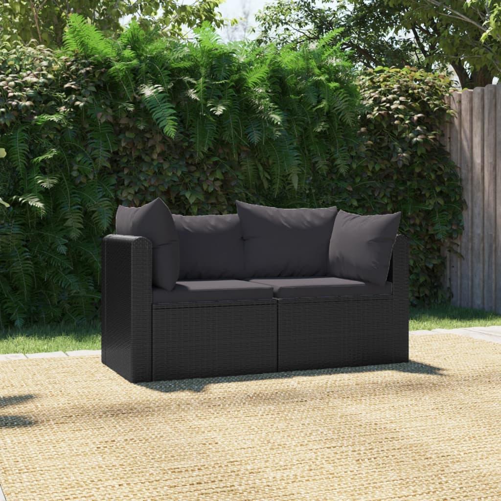 vidaXL 2dílná zahradní sedací souprava s poduškami polyratan černá