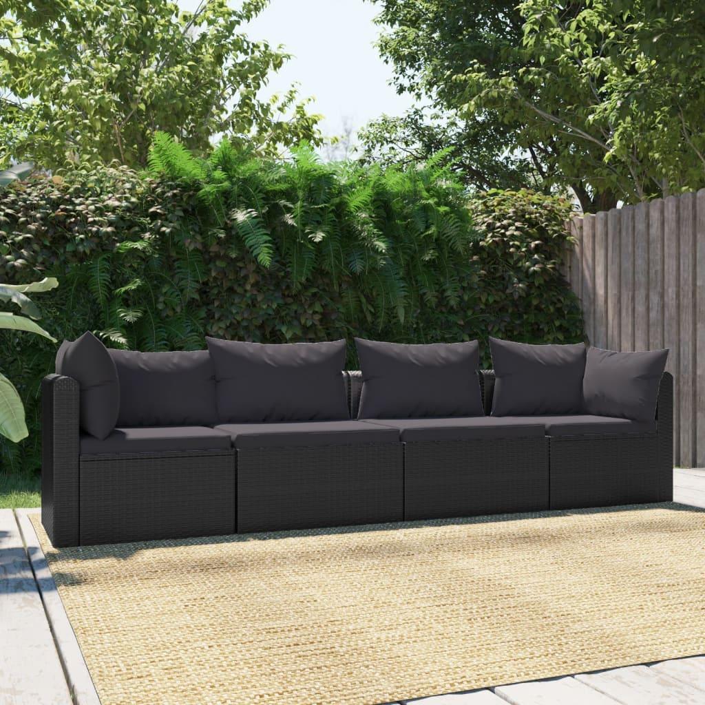 4dílná zahradní sedací souprava s poduškami polyratan černá