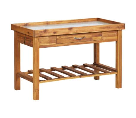 vidaXL Garden Work Bench with Zinc Top Solid Acacia Wood
