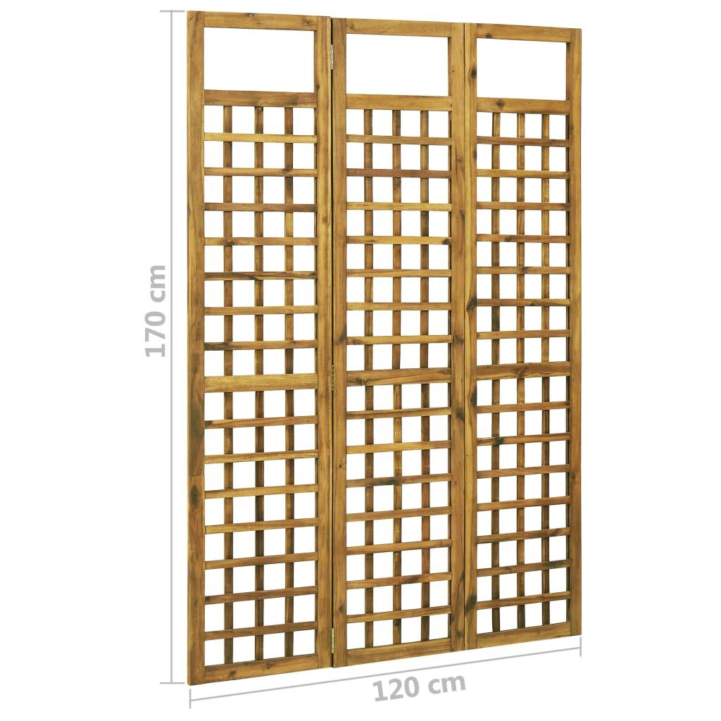 3-panelni paravan/mreža iz lesa akacije 120x170 cm