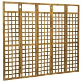 vidaXL 5-Panel Room Divider/Trellis Solid Acacia Wood 200x170 cm
