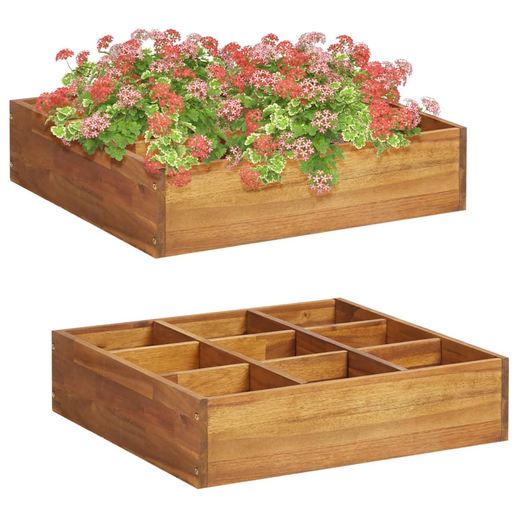 Zahradní vyvýšený záhon na bylinky masivní akácie 60x60x15 cm