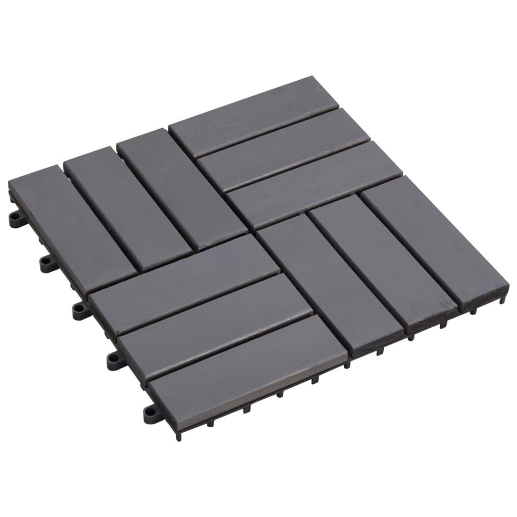 vidaXL Terasové dlaždice 10 ks šedé 30 x 30 cm masivní akáciové dřevo