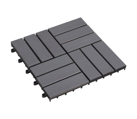 "vidaXL Decking Tiles 10 pcs Gray Wash 11.8""x11.8"" Solid Acacia Wood"
