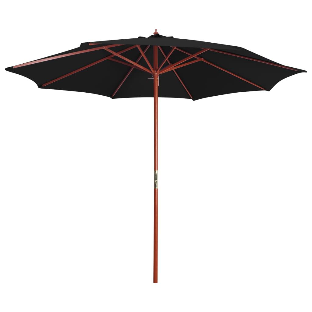 vidaXL Umbrelă de soare cu stâlp din lemn, negru, 300 x 258 cm poza vidaxl.ro