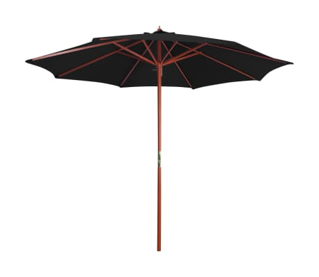 vidaXL Parasol with Wooden Pole 300x258 cm Black