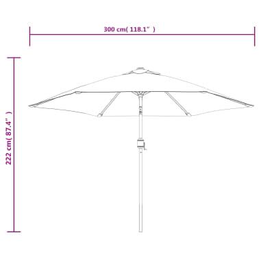 vidaXL Tuinparasol met metalen paal 300 cm blauw[7/7]