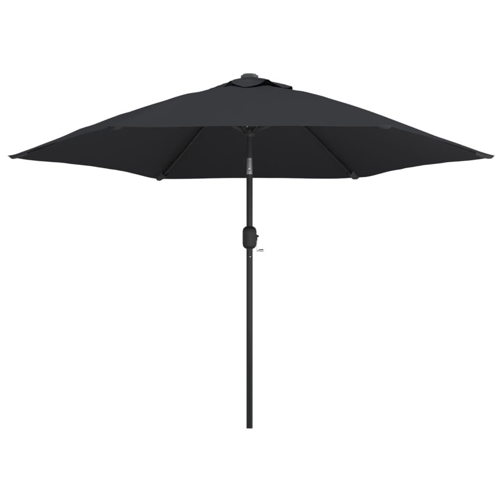 vidaXL Umbrelă de soare exterior, LED-uri și stâlp oțel, negru, 300 cm poza vidaxl.ro