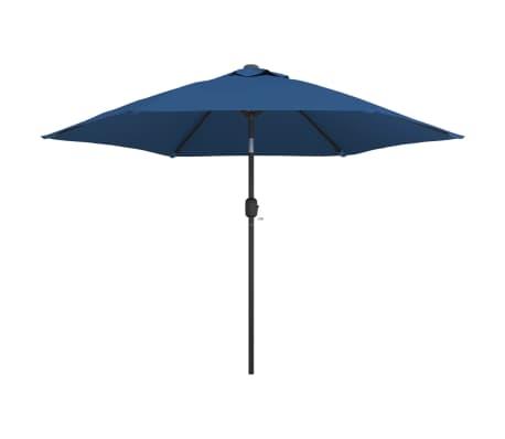vidaXL Parasol met LED-verlichting en stalen paal 300 cm blauw