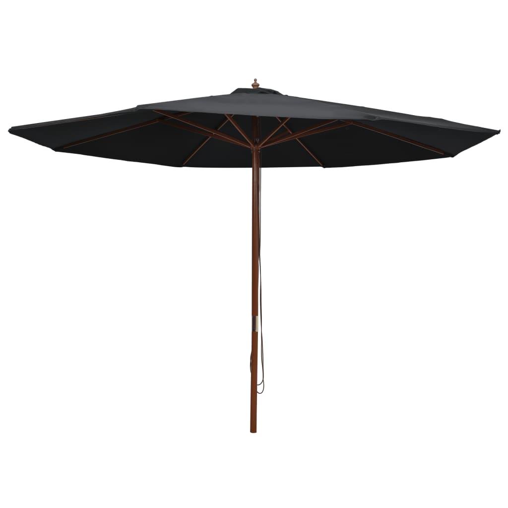 vidaXL Umbrelă de soare de exterior, stâlp din lemn, negru, 350 cm vidaxl.ro