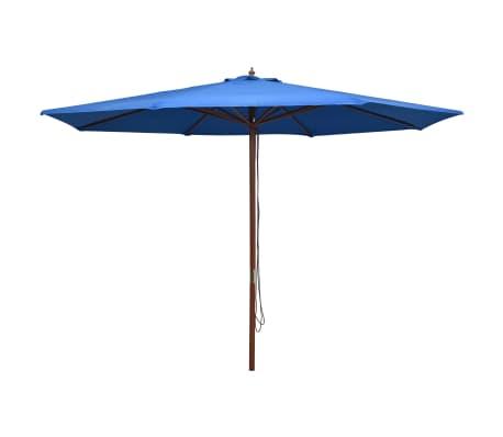 vidaXL Parasol met houten paal 350 cm blauw