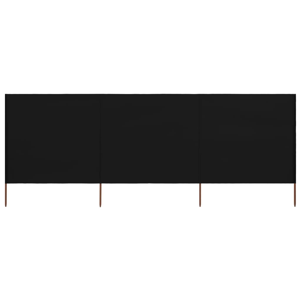 3-teiliges Windschutzgewebe 400 x 80 cm Schwarz