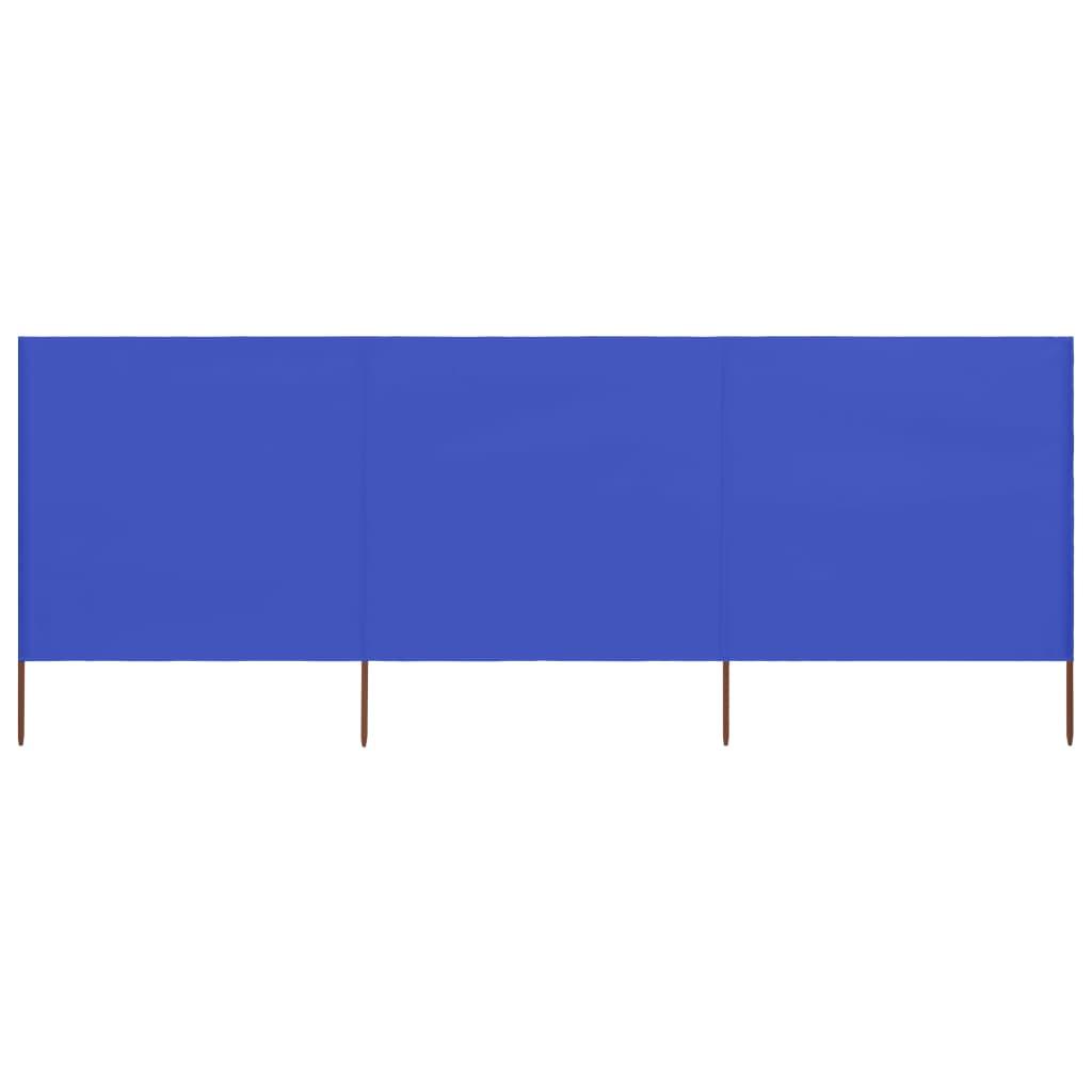 3-teiliges Windschutzgewebe 400 x 80 cm Azurblau