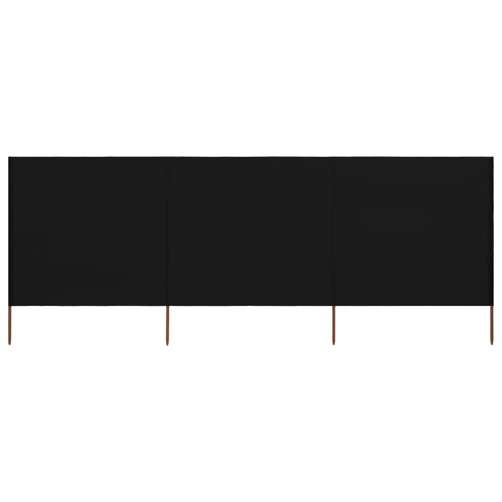 3-teiliges Windschutzgewebe 400 x 120 cm Schwarz