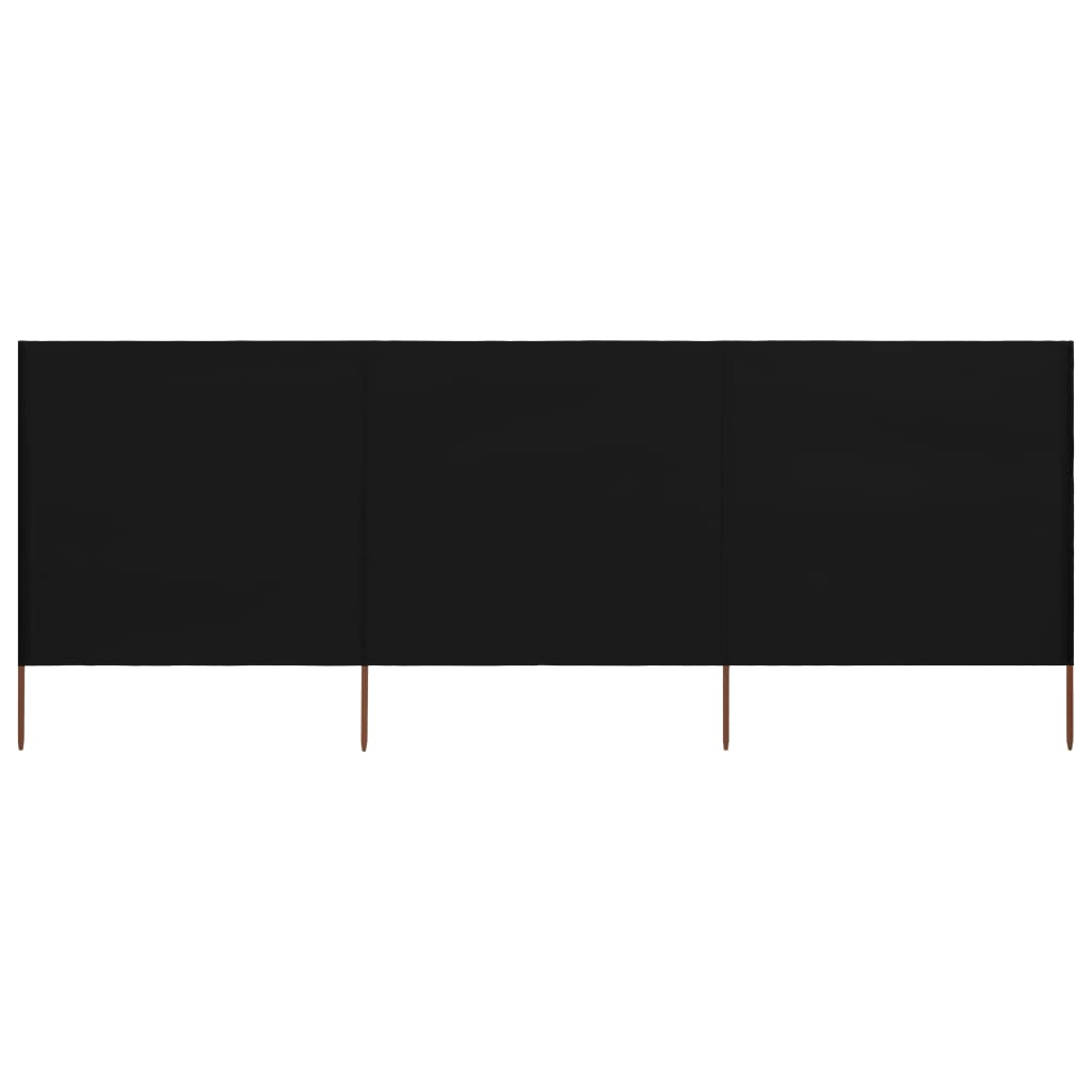 3-teiliges Windschutzgewebe 400 x 160 cm Schwarz