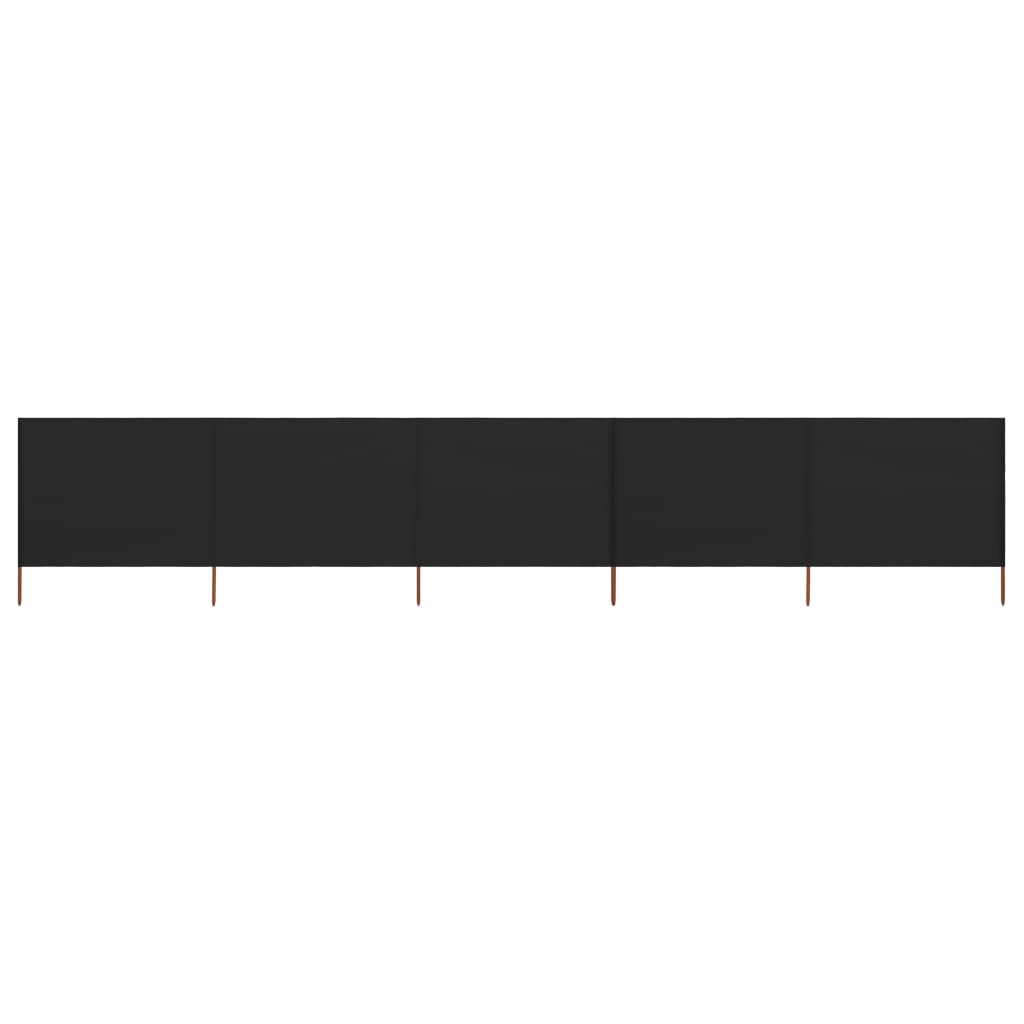 5-teiliges Windschutzgewebe 600 x 80 cm Schwarz