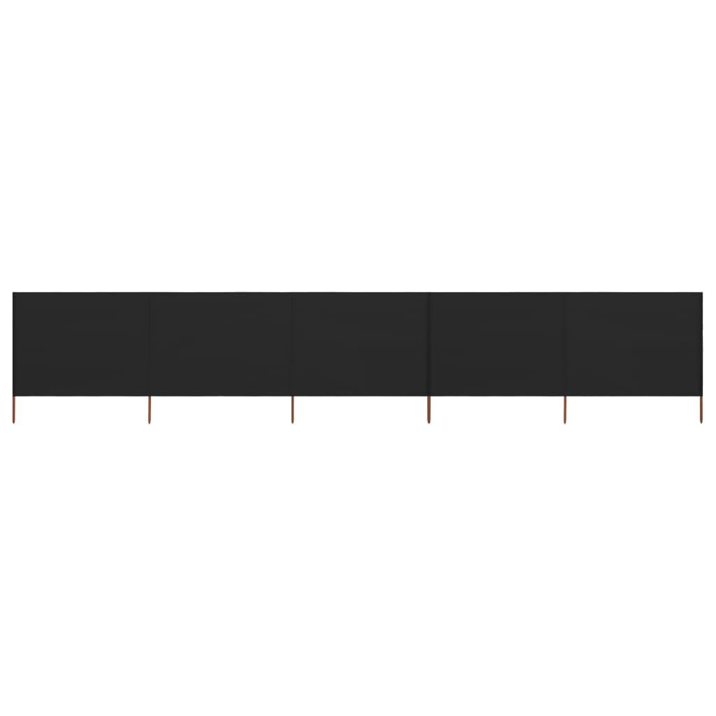5-teiliges Windschutzgewebe 600 x 120 cm Schwarz
