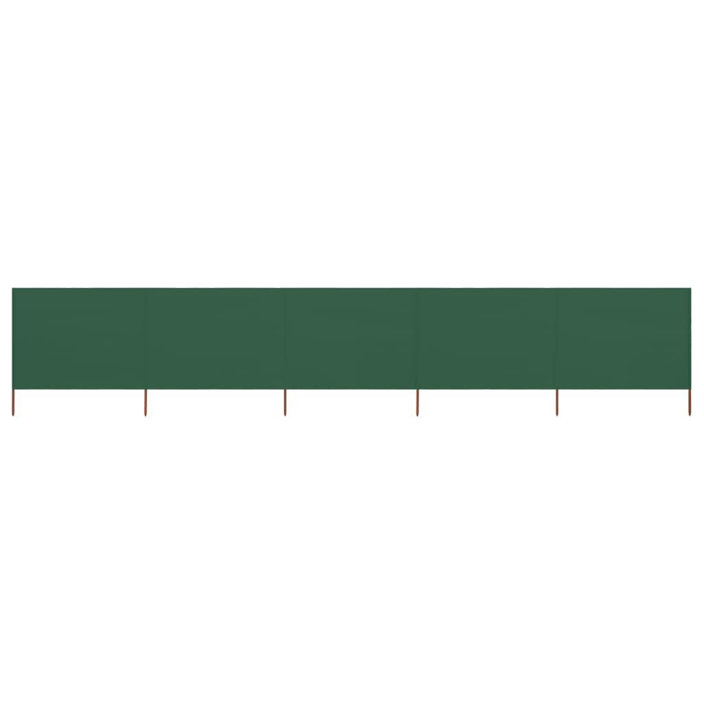 5-teiliges Windschutzgewebe 600 x 160 cm Grün