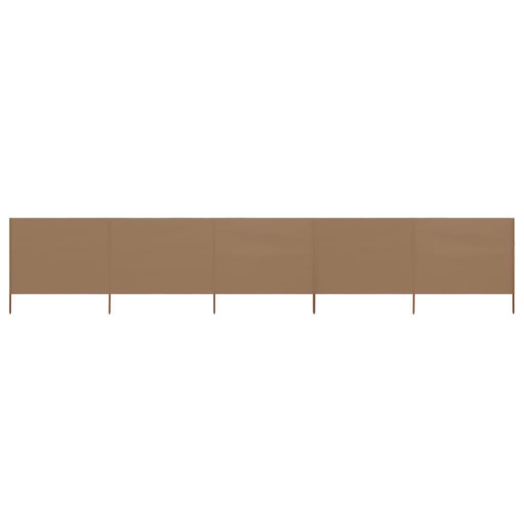 5-teiliges Windschutzgewebe 600 x 160 cm Taupe